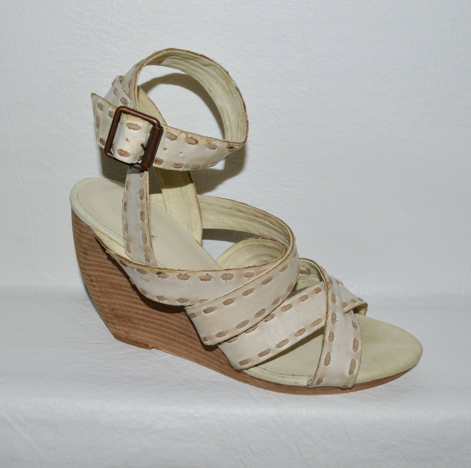 JOE'S SIZE 9 M STONE CREME SHADE LEATHER SANDALS WRAP AROUND ANKLE PLATFORM SANDALS LEATHER 3648d4