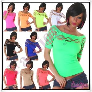 Sexy-Women-039-s-Ladies-Fishnet-Top-Summer-Party-Casual-Blouse-Size-8-10-12-14-UK