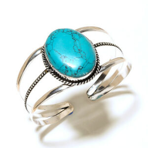 Preety-Silver-Overlay-Turquoise-Bracelet-Cuff-Bangel-Handmade-Gemstone-Jewelry