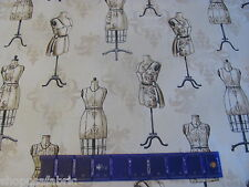 OLD DRESS FORMS SEAMSTRESS SEWING VINTAGE COUTURIER on COTTON FABRIC By The YARD