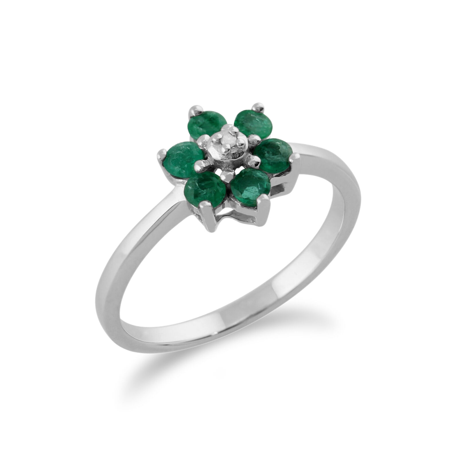 9ct bianca oro 0.44ct Natural Natural Natural Emerald & Diamond Floral Cluster Ring c8498b