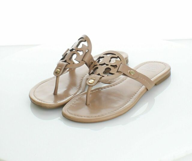42-64 $198 Women's Sz 4.5 M Tory Burch Miller Leather Logo Flat Sandals