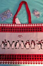 3 Vera Bradley Playful Penguins Red Items Tote Bag Coin Purse &lanyard Keychain