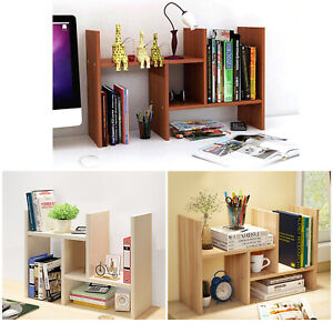 Details About Bookcase Desktop Shelf Desk Bookshelf Desktop Organizer Wood Rack Table Office