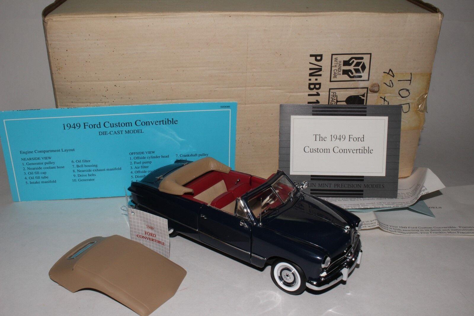 Franklin Mint 1 24 Moulage sous Pression 1949 Ford Convertible avec Boite