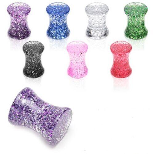 Une paire Solide Acrylique Léger Ultra Super Glitter Selle Plugs Choisir Couleur