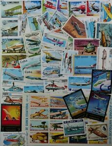 AVIATION-AIRPLANES-marvelous-collection-of-100-different-stamps-lot-DP