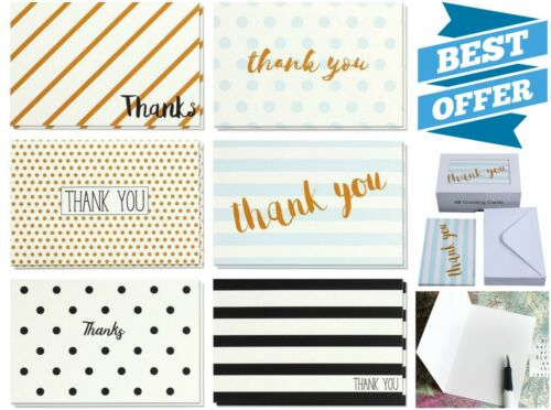48 Pack Blank 4 x 6 Inches Retro Thank You Cards Set w/ Envelopes All Occasions