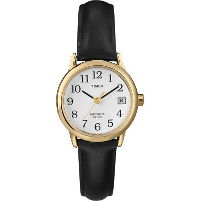Timex Womens Easy Reader Watch, Quartz, 25mm Gold Case, Black Leather Strap