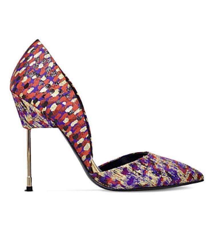 Kurt Geiger Red London Bond Shoes Size 7 Red Geiger Jacquard High Heel Court RRP a32bb4