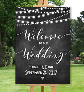 Image Is Loading Personalised Welcome To Our Wedding Sign Un Backed