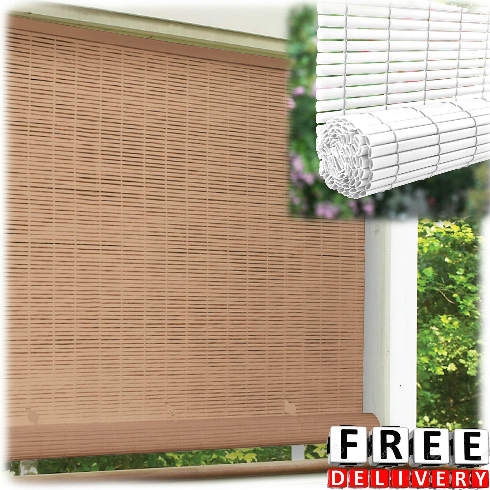 Roll Up Bamboo Blinds Shade Wooden Tiki