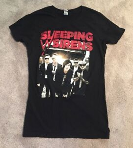 Official Sleeping With Sirens Feel Women/'s T-Shirt Hardcore Rock Band