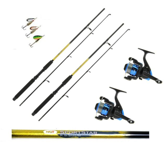 Lures trout,sea fishing 2 x 6FT Sportstar 2PC Spinning Fishing Rods and Reels
