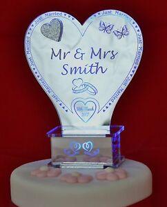 Image Is Loading Light Up Personalised Wedding Cake Topper Mirror Acrylic