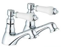 Hot & Cold Bath Taps 1/4 Turn Antique Victorian Style Bathroom Chrome  (Swan 3)