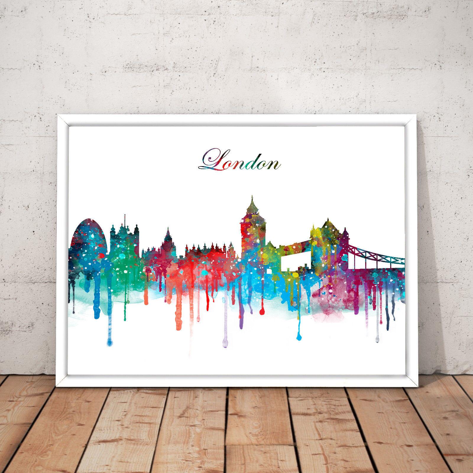 London Cityscape Landmarks Tourism Travel Watercolour Decor Art Poster Print