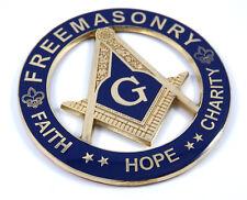 "Freemason, Faith Hope and Charity  3"" Metal Emblem 3D  Masonic decal MAS4"