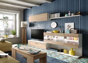 Mueble TV Salón/Comedor, en color Blanco Brillo y Roble Canadian ...