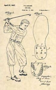 Official-1937-Golfing-US-Patent-Art-Print-Vintage-Golf-Cleat-Club-Ball-Shoe-369