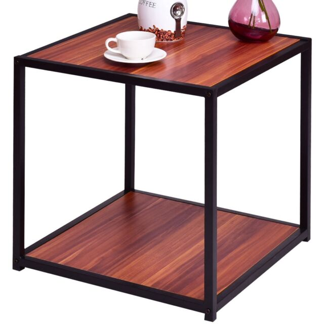 Square Table Walnut Top With Bottom Storage Shelf Furniture 20 X Durable
