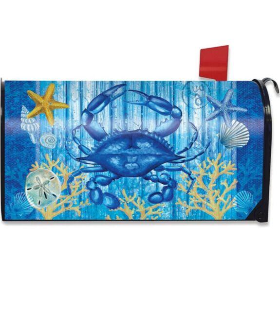 Blue Crab Mailbox Cover Magnetic All Weather  Coastal Ocean Briarwood Lane