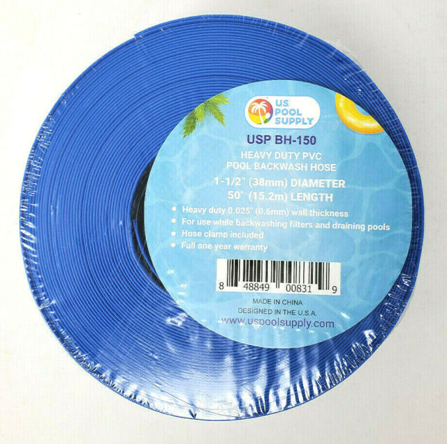 """2/"""" x 50/' Heavy Duty Blue PVC Swimming Pool Backwash Hose /& Clamp Water Discharge"""