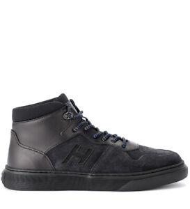Sneaker-Hogan-H365-Basket-in-pelle-e-camoscio-nera
