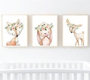 Blush Rosa Woodland Animales Vivero Impresión Conejo Ciervo Fox Arte Floral Set 3 614-A