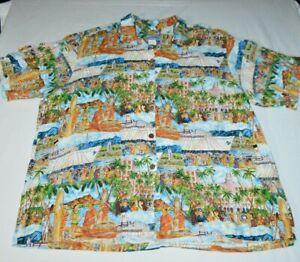 Reyn-Spooner-Joe-Kealuha-039-s-Malolo-Cruise-Ship-Port-Harbor-Hawaiian-Shirt-Mens-XL