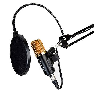 USB Condenser Studio Sound Recording Microphone Mic + Shock Mount Tripod Stand #