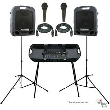 Peavey ESCORT 3000 300w Portable PA Powered Speaker System w/Mixer + 2 PV-7 Mics
