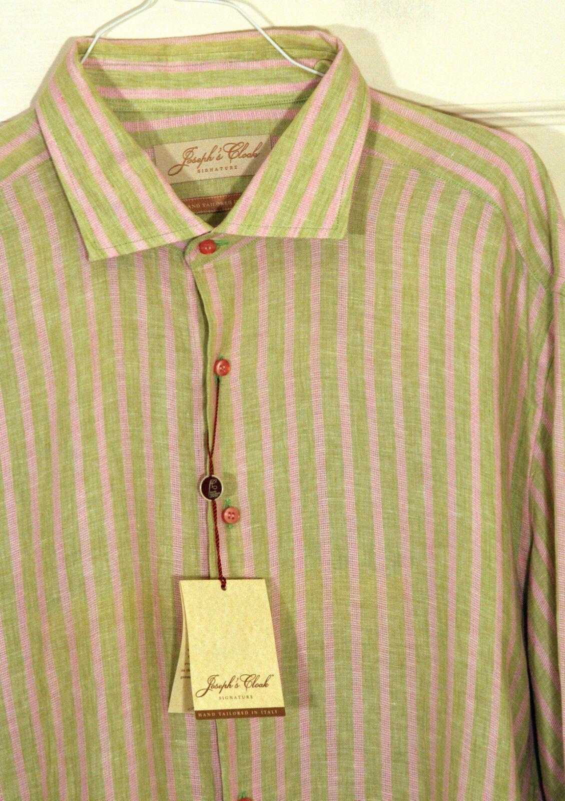 Joseph's Cloak  Mens Stripe Shirt Green Pink US 18 E 47 NWT  Linen Feel