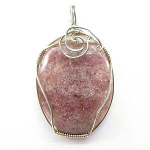 """Jasper 73 carat (14 gr) Sterling Silver Wire Wrap Oval Pendant 1"""" x 2"""" x 1/4"""""""