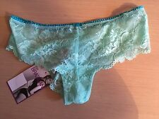 BNWT New M&S Marks Spencer Jade Green Lace Brazilian Knickers Size 8