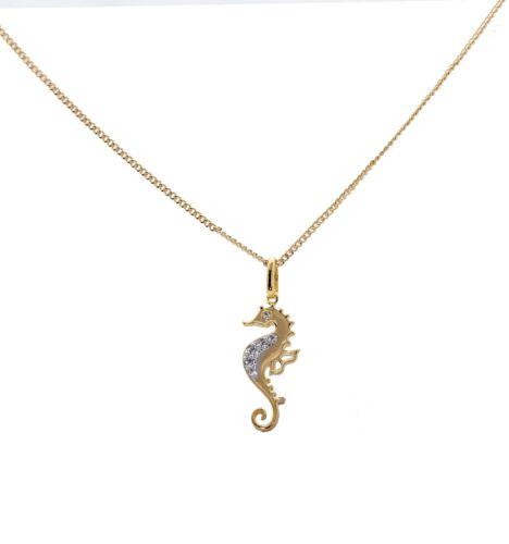 Collier pendentif hippocampe en plaqué OR 18 kt garanti 10ans avec boite coffret