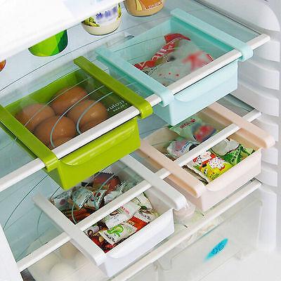 Slide Kitchen Fridge Freezer Space Saver Storage Box Rack Shelf Holder Organizer