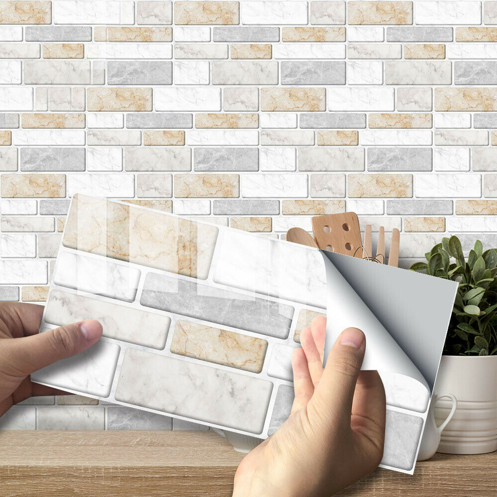 Bathroom 7.87 Inch 3.94 Inch JM1201 9 Sheets Marble Waterproof Anti-Oil Wall Tile for Kitchen Peel and Stick Backsplash Tile