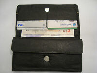Ladies Leather Purse Wallet Organizer With Many Features Crafted Black Silver