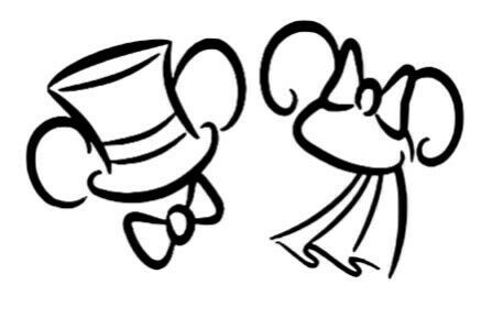 disney wedding mickey and minnie badge vinyl sticker car phone glass laptop cup