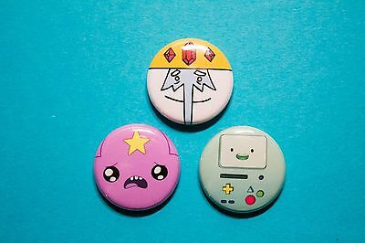 "3 1"" Adventure Time Lumpy Space Princess Ice King BMO - pinback badges buttons"