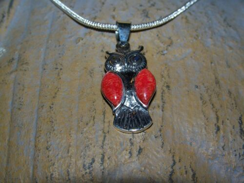 Details about  /Sterling Silver Owl w// Red Coral /& aventurine 2mm 16-30 inch sterling necklace.