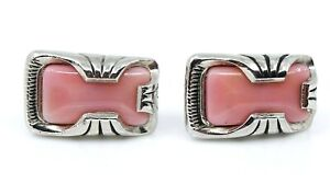Big-Mens-Cufflinks-Vintage-Pink-Large-Silvertone-Chunky-Steampunk-Cuff-Links