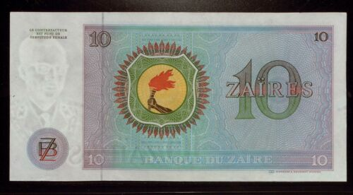 Bank11335 Zaire 1977 10  Zaires UNCHand /& TorchOversized Note