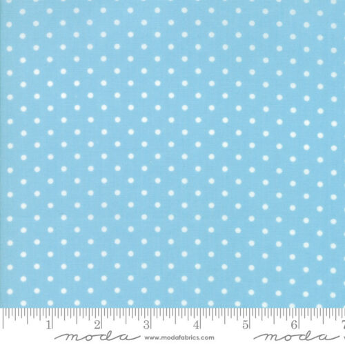 Moda GOOD TIDINGS 18666 18 Blue White Dots BRENDA RIDDLE Quilt Fabric CHRISTMAS