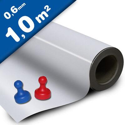 120 x 1000 x 0,6mm Magnetfolie Eisenfolie weiß matt Pinwand selbstklebend
