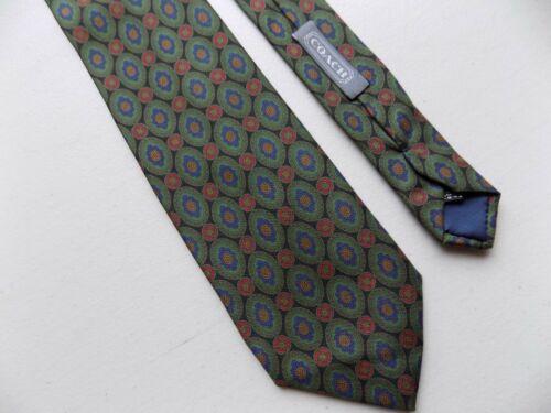 COACH Silk Necktie Dark Green Oval Geometric Made