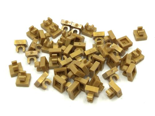 LEGO 50pcs NEW Pearl Gold 1x1 Plate with Clip Bulk Lot 15712 6071259