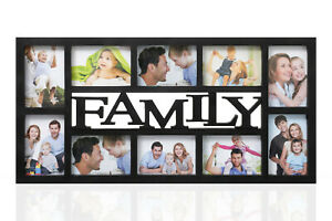 Family-10-Multi-Aperture-Photo-Picture-Frame-Holds-6-039-039-X4-039-039-Photos-Black-CL-9624