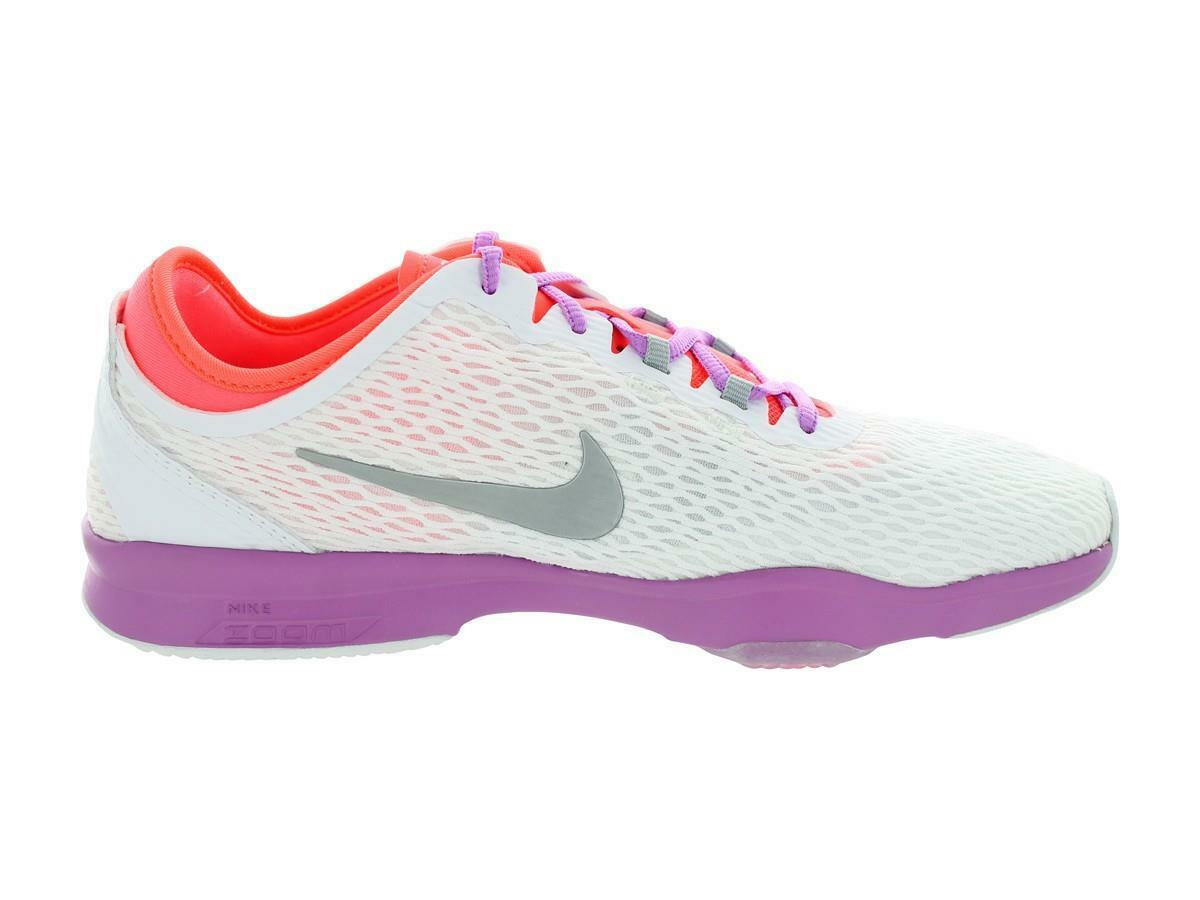 NEW Nike Women's Zoom Fit Training Shoes 704658-101 White/Silver/Lava Size 11.5